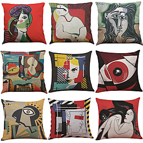 cheap Throw Pillow Covers-1 Set of 9 pcs Linen Throw Pillow Covers Art Print Decorative Throw Pillow Case Cushion Case for Room Bedroom Room Sofa Chair Car, 18 x 18 Inch