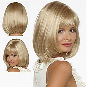 cheap Synthetic Trendy Wigs-Synthetic Wig Straight Bob With Bangs Wig Short Brown Blonde Medium Blonde Synthetic Hair 12 inch Women's Soft Women Synthetic Blonde Brown hairjoy