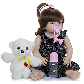 cheap Reborn Doll-KEIUMI 22 inch Reborn Doll Baby & Toddler Toy Reborn Toddler Doll Baby Girl Gift Cute Washable Lovely Parent-Child Interaction Full Body Silicone 23D09-C90-H01-T19 with Clothes and Accessories for