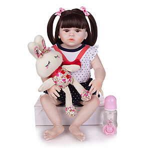 cheap Reborn Doll-KEIUMI 22 inch Reborn Doll Baby & Toddler Toy Reborn Toddler Doll Baby Girl Gift Cute Washable Lovely Parent-Child Interaction Full Body Silicone 23D125-C74-H28-S24-T23 with Clothes and Accessories