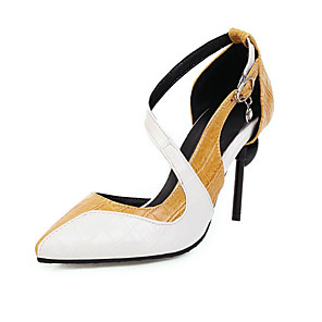 cheap Women's Heels-Women's Heels Spring / Summer Stiletto Heel Pointed Toe Daily Color Block PU Black / Yellow