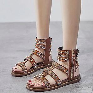cheap Women's Sandals-Women's Sandals Roman Shoes / Gladiator Sandals Summer Flat Heel Open Toe Daily PU Dark Brown / Black