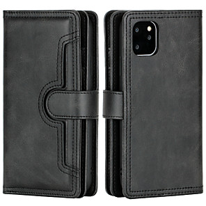 cheap Samsung Case-Case For APPLE  iPhone6 7 8 6plus 7plus 8plus  XR XS XSMAX  X SE  11  11Pro   11ProMax Wallet Card Holder Flip Full Body Cases Solid Colored PU Leather