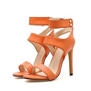 cheap Women's Sandals-Women's Sandals Summer Stiletto Heel Open Toe Daily Solid Colored PU Yellow / Orange