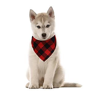 cheap Dog Clothes-Dog Cat Bandanas & Hats Dog Bandana Dog Bibs Scarf Plaid / Check Casual / Sporty Cute Christmas Sports Dog Clothes Adjustable Black Red Blue Costume Cotton