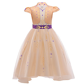 cheap Movie & TV Theme Costumes-Princess Anna Flower Girl Dress Girls' Movie Cosplay A-Line Slip Yellow Dress Halloween Children's Day Masquerade Polyester