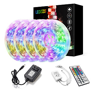 cheap Power Supply-ZDM 20M(4*5M) LED Light Strips Kit RGB Tiktok Lights 2835 1200 LEDs 8mm Strip Flexible Light LED IR 44Key Remote Controller with EU US AU UK Power Supply AC110-240V