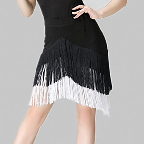 cheap Latin Dancewear-Latin Dance Skirts Tassel Women's Training Spandex