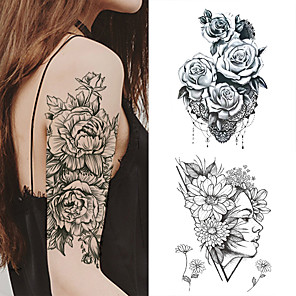cheap Tattoo Stickers-1 PC Fashion Women Girl Temporary Tattoo Sticker Black Roses Design Full Flower Arm Body Art Big Large Fake Tattoo Sticker