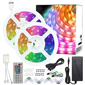 cheap Movie & TV Theme Costumes-50ft 2x7.5M No-waterproof 5050 RGB Full color LED Strip Lights with 44-Key IR Double Outlet Remote and Adapter Light Strip Kit DC12V