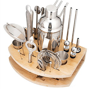 cheap novelty kitchen tools-Bartender Kit 27pcs Cocktail Shaker Mixer Stainless Steel 550ml/750ml Bar Tool Set with Stylish Bamboo Stand Perfect Home Bartending Kit and Martini Cocktail Shaker Set
