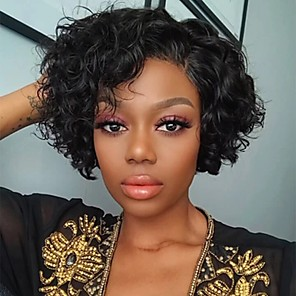 cheap Synthetic Trendy Wigs-Remy Human Hair Lace Front Wig Pixie Cut style Brazilian Hair Curly Natural Wig 180% Density Women's Short Human Hair Lace Wig