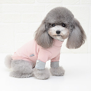 cheap Dog Clothes-Dog Shirt / T-Shirt Pajamas Color Block Casual / Sporty Cute Wedding Party Casual / Daily Winter Dog Clothes Breathable White Pink Gray Costume Cotton S M L XL XXL