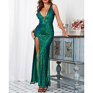 cheap LED Strip Lights-Women's A-Line Dress Maxi long Dress - Sleeveless Solid Color Backless Sequins Summer V Neck Elegant Sexy Party 2020 White Green S M L XL