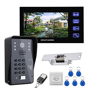 cheap Video Door Phone Systems-7 Lcd Video Door Phone Intercom System RFID Door Access Control Kit Outdoor Camera Electric Strike LockWireless Remote Control