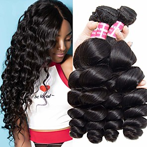 cheap 3 Bundles Human Hair Weaves-4 Bundles Indian Hair Loose Wave Remy Human Hair 100% Remy Hair Weave Bundles 400 g Natural Color Hair Weaves / Hair Bulk Human Hair Extensions 8-28 inch Natural Color Natural Black Human Hair Weaves