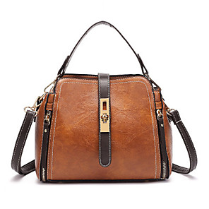 cheap Handbag & Totes-Women's Bags PU Leather Top Handle Bag for Daily Black / Green / Brown