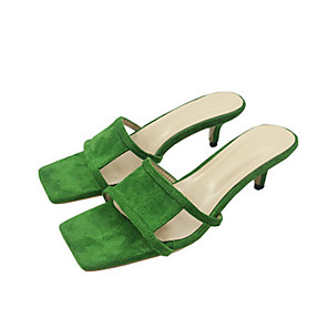 cheap Women's Sandals-Women's Sandals Summer Stiletto Heel Round Toe Daily Solid Colored Suede Black / Green