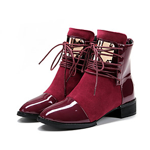 cheap Women's Boots-Women's Boots Winter Block Heel Round Toe Basic Roman Shoes Daily Lace-up Solid Colored Patent Leather Booties / Ankle Boots Wine / Black