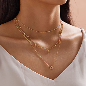 cheap Choker Necklaces-Women's Pendant Necklace Necklace Stacking Stackable Star Simple Classic Trendy Sweet Chrome Gold 37 cm Necklace Jewelry 1pc For Party Evening Masquerade Street Beach Festival / Layered Necklace