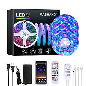 cheap LED Strip Lights-MASHANG 15M(3*5M) RGB LED Strip Lights Music Sync Smart LED Lights Tiktok Lights 900LEDs SMD 2835 Color Changing with 24 keys Remote Bluetooth Controller for Home Bedroom TV Back Lights DIY Deco