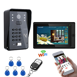 cheap Video Door Phone Systems-MOUNTAINONE 7inch Wired / Wireless Wifi RFID  Video Door Phone Doorbell Intercom Entry System With 1000TVL Wired Camera Night VisionSupport Remote APP UnlockingRecordingSnapshot