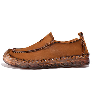 cheap Men's Slip-ons & Loafers-Men's Spring / Fall Sporty / Casual / Vintage Daily Outdoor Oxfords Cowhide Non-slipping Wear Proof Black / Brown