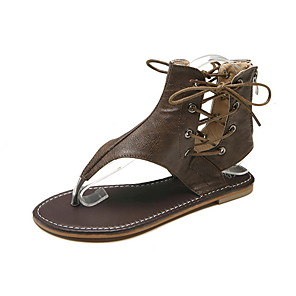 cheap Smartwatches-Women's Sandals Roman Shoes / Gladiator Sandals Summer Flat Heel Open Toe Daily PU Black / Yellow / Green