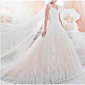 cheap Wedding Slips-A-Line Wedding Dresses V Neck Chapel Train Lace Tulle Sleeveless Formal with Appliques 2020