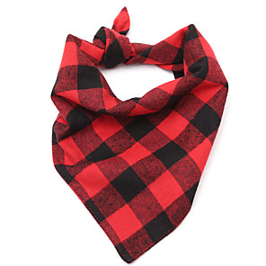 cheap Dog Clothes-Dog Cat Bandanas & Hats Dog Bandana Dog Bibs Scarf Plaid / Check Casual / Sporty Cute Sports Casual / Daily Dog Clothes Breathable Red Costume Cotton S M