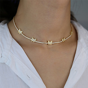cheap Necklaces-Women's Choker Necklace Chain Necklace Butterfly Dainty European Trendy Fashion Imitation Diamond Alloy Gold Silver 42 cm Necklace Jewelry For Party Evening Gift Masquerade Street Beach