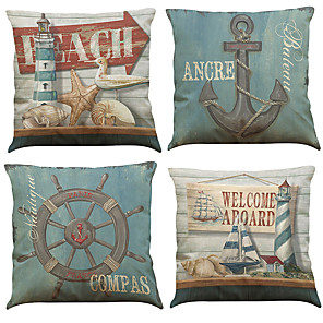 cheap Pillow Covers-4 pcs Linen Pillow Cover Creative Anchor Linen Pillow Case Car Pillow Cushion Sofa Pillow Pillow Office Nap Pillow Pillow