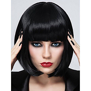 cheap Synthetic Trendy Wigs-Synthetic Wig Natural Straight Short Bob Neat Bang Wig Short Blonde Natural Black Purple Synthetic Hair 10 inch Women's Fashionable Design Party Adorable Black Blonde