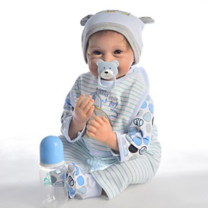 cheap Dolls Accessories-KEIUMI 22 inch Reborn Doll Baby & Toddler Toy Reborn Toddler Doll Baby Boy Gift Cute Lovely Parent-Child Interaction Tipped and Sealed Nails Half Silicone and Cloth Body with Clothes and Accessories
