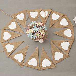 cheap Wedding Decorations-Hemp love triangle flag party supplies wedding  Banners