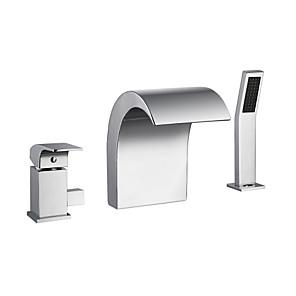 cheap Bathtub Faucets-Bathtub Faucet - Chrome Finish Waterfall Spout Bath Tub and Shower Mixer Tap