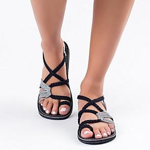 cheap Women's Sandals-Women's Sandals Roman Shoes / Gladiator Sandals Summer Flat Heel Open Toe Daily Linen Light Brown / White / Black