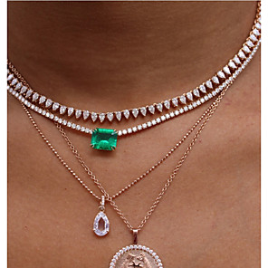cheap Necklaces-Women's Choker Necklace Crystal Necklace Artistic Luxury Unique Design European Zircon Green 40 cm Necklace Jewelry For Party Evening Prom Street Birthday Party Festival