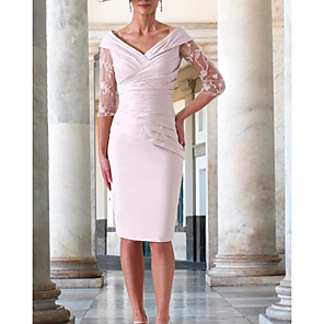 cheap Jewelry Sets-Sheath / Column Mother of the Bride Dress Elegant V Neck Knee Length Lace Stretch Satin Half Sleeve with Appliques Ruching 2020