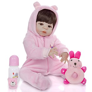 cheap Dolls Accessories-KEIUMI 22 inch Reborn Doll Baby & Toddler Toy Reborn Toddler Doll Baby Girl Gift Cute Washable Lovely Parent-Child Interaction Full Body Silicone 23D01-C293-H118-T20 with Clothes and Accessories for