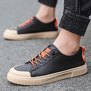 cheap Men's Sneakers-Men's Summer / Fall Casual / Preppy Daily Sneakers PU Breathable Wear Proof Orange / Black / White / Black