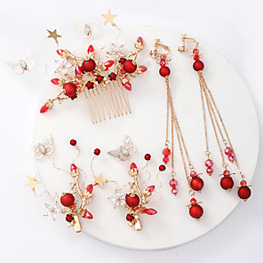 cheap Jewelry Sets-Women's Bridal Jewelry Sets Sweet Fashion Earrings Jewelry Red For Wedding Party 1 set