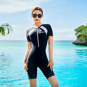 cheap Wetsuits, Diving Suits & Rash Guard Shirts-Women's One Piece Swimsuit Nylon Bodysuit Quick Dry Short Sleeve Front Zip - Swimming Surfing Water Sports Solid Colored Summer / Stretchy