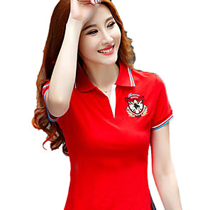 cheap Golf, Tennis & Badminton-Women's Golf Polo Shirts Short Sleeve Breathable Quick Dry Soft Athleisure Outdoor Summer Cotton Yellow Red Royal Blue / Micro-elastic