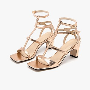 cheap Women's Sandals-Women's Sandals Summer Pumps Open Toe Daily Solid Colored PU Gold / Silver