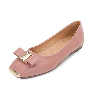 cheap Women's Heels-Women's Flats / Loafers & Slip-Ons Summer Flat Heel Square Toe Daily Solid Colored PU Almond / Black / Pink