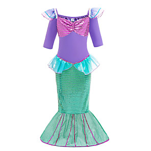 cheap Movie & TV Theme Costumes-Kids Toddler Girls' Basic Cute The Little Mermaid Color Block Patchwork Short Sleeve Midi Dress Green