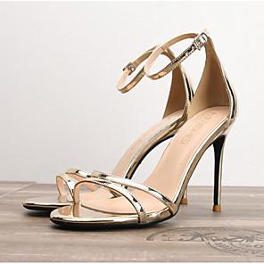 cheap Women's Sandals-Women's Sandals Summer Stiletto Heel Round Toe Daily PU Gold / Silver