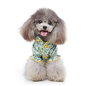 cheap Dog Clothes-Dog Shirt / T-Shirt Pajamas Flower Casual / Sporty Cute Sports Casual / Daily Dog Clothes Warm Green Costume Cotton S M L XL XXL
