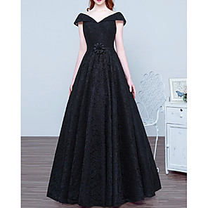 cheap Latin Dancewear-A-Line Elegant Vintage Prom Formal Evening Dress V Neck Short Sleeve Floor Length Lace with Sash / Ribbon 2020